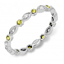 Diamond and Yellow Sapphire Stackable Ring