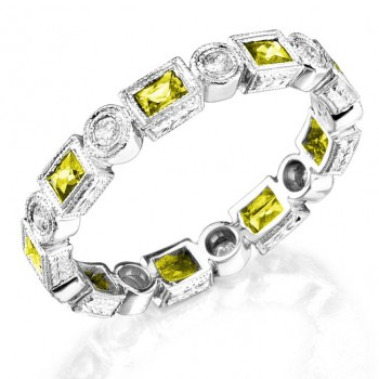 Baguette Yellow Sapphire and Diamond Stackable Ring