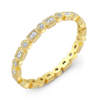 Engraved, Stackable Yellow Gold, Diamond Ring