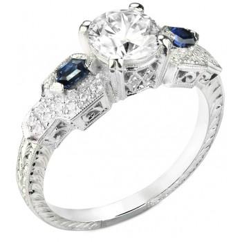 Diamond & Custom Cut Blue Sapphire Engagement Ring