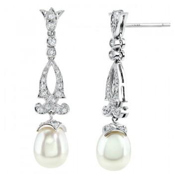 Diamond and pearl Filigree Earring