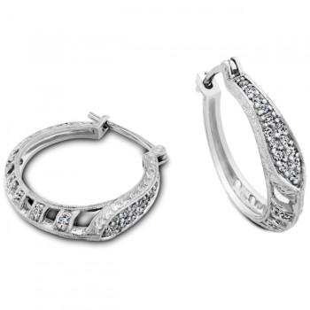 Engraved and Filigree Diamond Hoop Earring