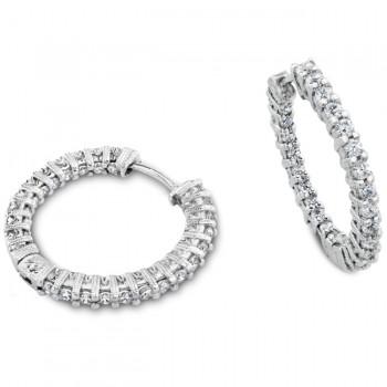 Engraved Diamond Hoop Earring