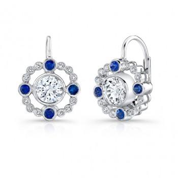 Diamond, & Blue Sapphire Lever Back Earring. (Semi Mount)