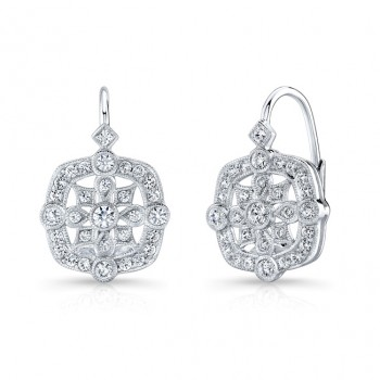 Pave' Diamond,, Lever Back Earring