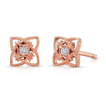 Rose Gold Diamond Earring.