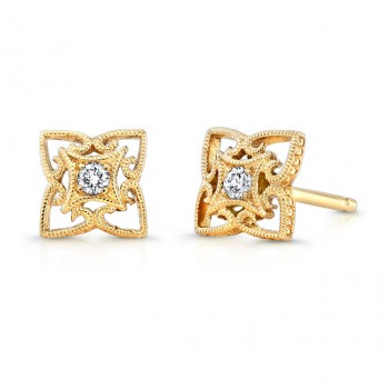 Yellow Gold Diamond Earring.
