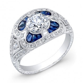 Antique Inspired Diamond & Blue Sapphire Engagement Ring