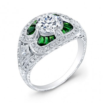 Antique Inspired Diamond & Tsavorite Engagement Ring