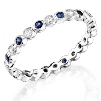 Bezel set diamond and blue sapphire stackable ring