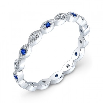 Blue Sapphire & Diamond Stackable Ring