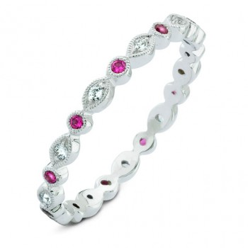 Diamond & Pink Sapphire, Stackable Ring
