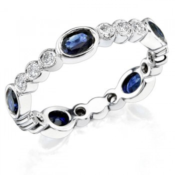 Diamond and Custom Cut Oval Blue Sapphire Stackable Ring
