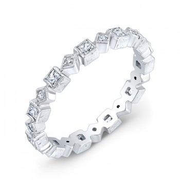 Princess Cut and Micro Pave' Round Brilliant Cut Diamond Stackable Ring