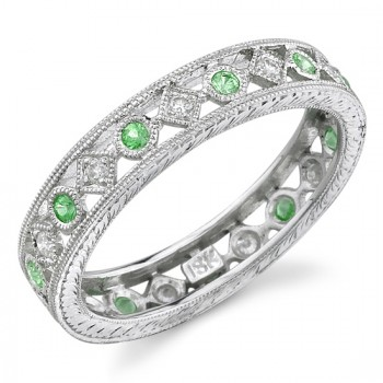 Lace Like Engraved & Mill Grained Satackable Ring With Round Brilliant Cut Diamonds and Tsavorite