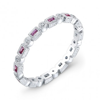 Hand Engraved Pink Sapphire and Diamond Stackable Ring Accented by Fine Mill Graining