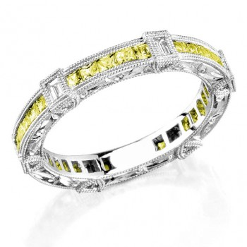 Diamond and Yellow sapphire engraved ring