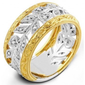 Two Tone White Gold And Yellow, Diamond Ring