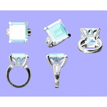 Custom Designed, Vintage Style, Aquamarine Ring