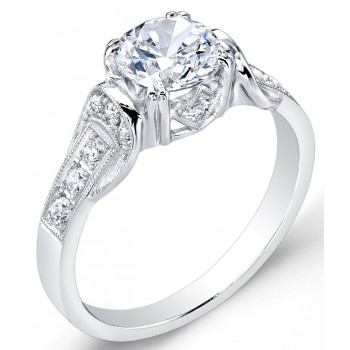 Modern Nouveau,  Halo Style, Diamond Engagement Ring