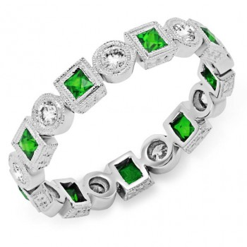 Bezel Set Princess Cut Tsavorite and Round Diamond Ring