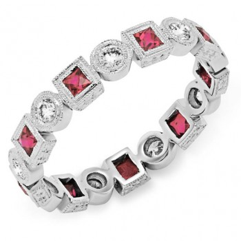 Bezel Set Princess Cut Pink Sapphire and Round Diamond Ring