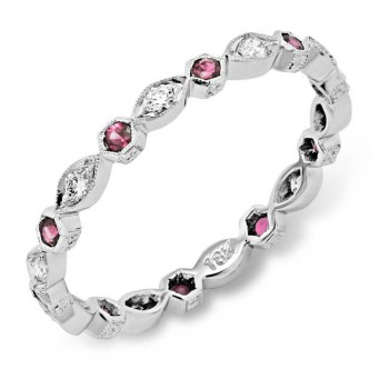 Diamond and Pink Sapphire Stackable Ring